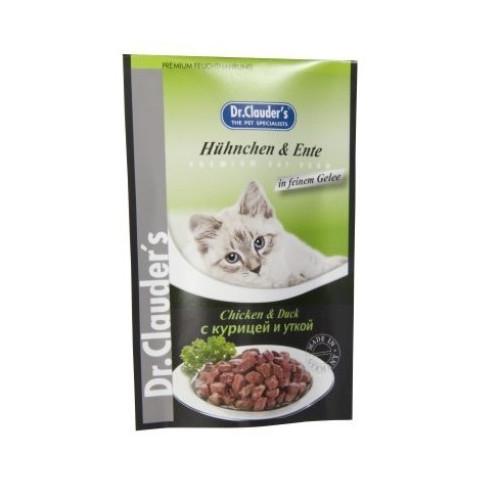 Hrana Umeda pentru Pisici Plic Dr. Clauder's cu Pui si Rata, 100 g 0