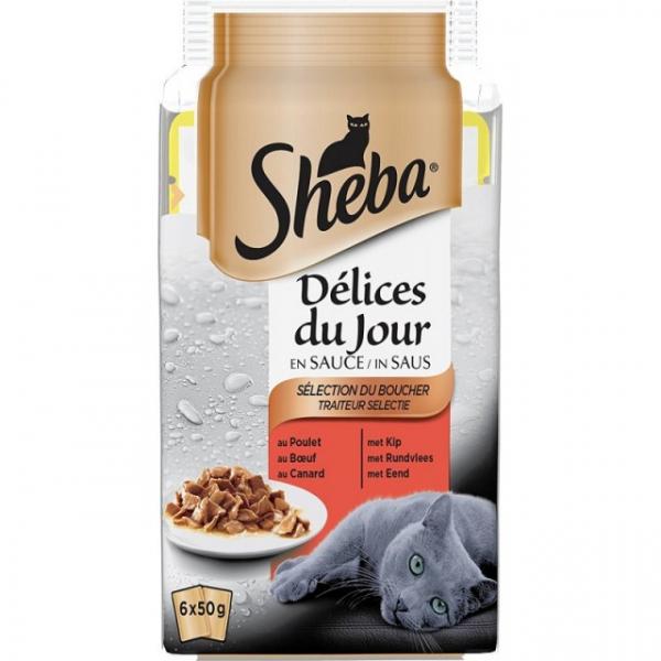 Hrana umeda pentru pisici Sheba Mini Selectii, Pasare, Peste si Vita, 6x50g [0]