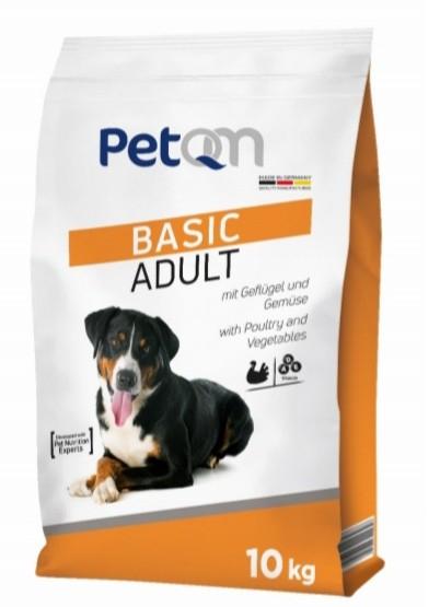 Hrana uscata pentru caini cu cereale, pui si legume, Basic Adult, PetQM, 10 kg 0