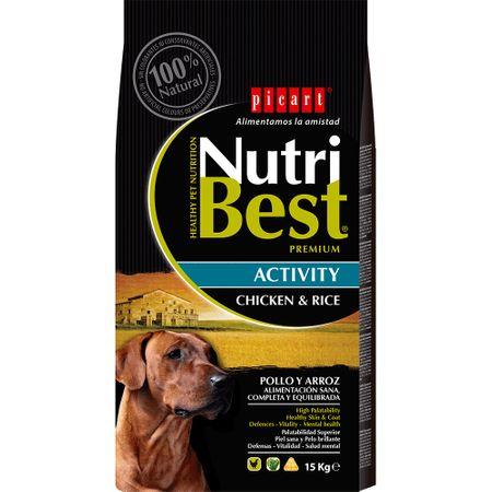 Hrana uscata pentru caini cu pui si orez, Adult Activity, Nutribest, 15 kg 0