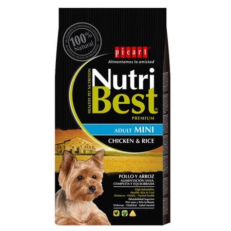 Hrana uscata pentru caini cu pui si orez, Adult Mini, Nutribest, 3 kg 0