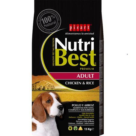 Hrana uscata pentru caini cu pui si orez, Adult, Nutribest, 15 kg [0]