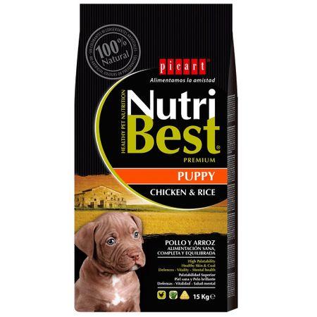 Hrana uscata pentru caini cu pui si orez, Puppy, Nutribest, 15 kg [0]