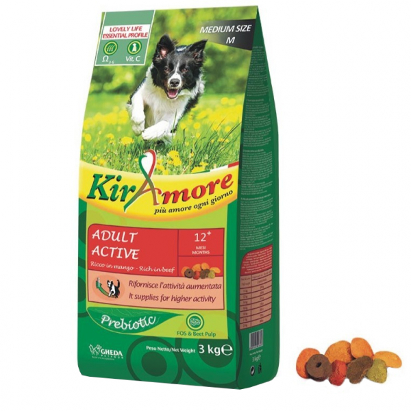 Hrana uscata pentru caini KIRAmore Medium Adult Active, 3 kg 0