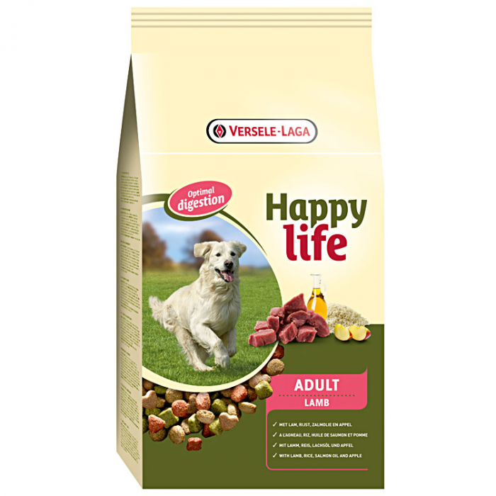 Hrana uscata pentru caini, Versele Laga Happy Life, Adult, Miel, 15Kg 0