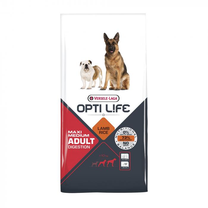Hrana uscata pentru caini Versele Laga Opti Life Adult Digestion, Medium & Maxi, 12,5 kg 0