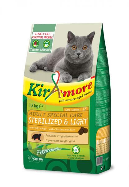 Hrana uscata pentru pisici, Adult Sterilized & Light, Kiramore, 1.5 kg 0