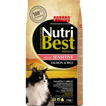 Hrana uscata pentru pisici cu somon si orez, Nutribest Cat Adult Sensitive, 2 Kg 0