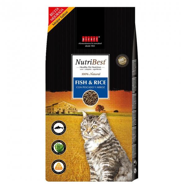Hrana uscata pentru pisici Nutribest Cat Adult, Peste si Orez, 15 kg 0