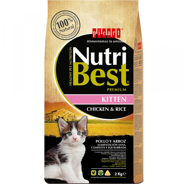 Hrana uscata pentru pisici Nutribest Kitten, Pui si Orez, 2Kg 0