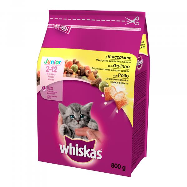Hrana uscata pentru pisici Whiskas, Junior, Pui, 800g [0]