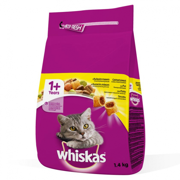 Hrana uscata pentru pisici Whiskas, Pui, 1.4Kg 0