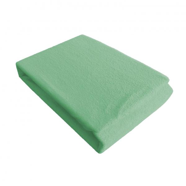 Husa de pat din frotir Jerry, pentru o singura persoana, Verde, 90x200 cm [0]