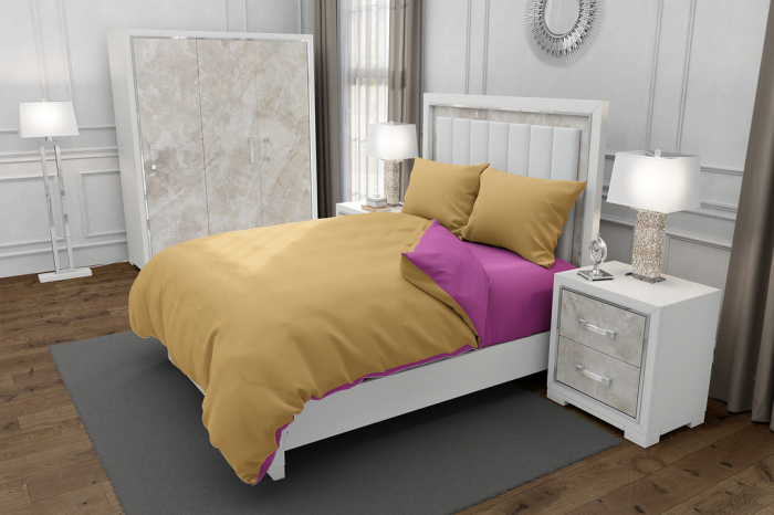 Lenjerie de pat pentru o persoana cu husa elastic pat si fata perna dreptunghiulara, Duo Beige, bumbac satinat, gramaj tesatura 120 g/mp, Bej/Roz, 3 piese [0]
