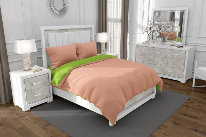 Lenjerie de pat matrimonial cu husa elastic pat si fata perna dreptunghiulara, Duo Green, bumbac satinat, gramaj tesatura 120 g/mp, Somon/Verde, 4 piese [0]