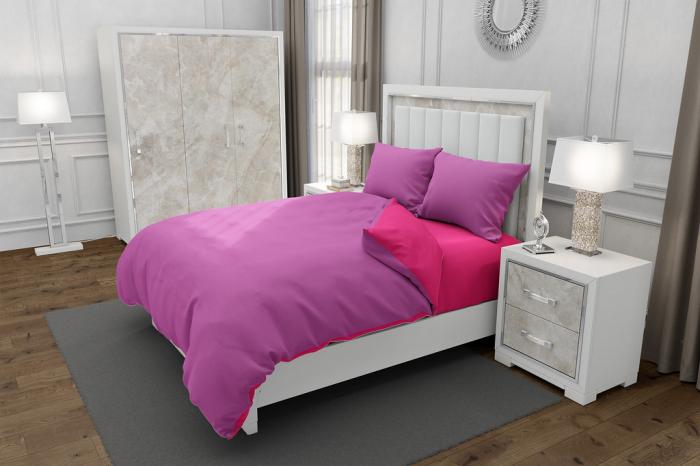 Lenjerie de pat matrimonial SUPER cu 4 huse de perna cu mix dimensiuni, Duo Pink, bumbac satinat, gramaj tesatura 120 g/mp, Roz/Fucsia, 6 piese 0