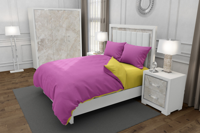 Lenjerie de pat pentru o persoana cu husa elastic pat si 2 fete perna dreptunghiulara, Duo Pink, bumbac satinat, gramaj tesatura 120 g/mp, Roz/Galben, 4 piese 0
