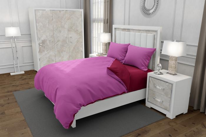 Lenjerie de pat pentru o persoana cu husa elastic pat si 2 fete perna dreptunghiulara, Duo Pink, bumbac satinat, gramaj tesatura 120 g/mp, Roz/Grena, 4 piese 0
