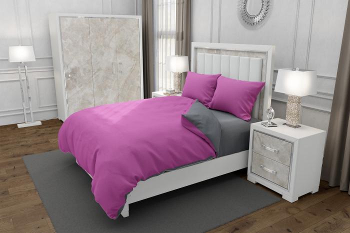 Lenjerie de pat pentru o persoana cu husa elastic pat si fata perna dreptunghiulara, Duo Pink, bumbac satinat, gramaj tesatura 120 g/mp, Roz/Gri, 3 piese 0