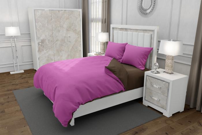 Lenjerie de pat pentru o persoana cu 2 huse de perna dreptunghiulara, Duo Pink, bumbac satinat, gramaj tesatura 120 g/mp, Roz/Maro, 4 piese 0