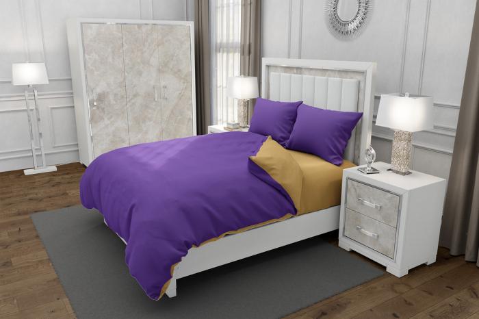 Lenjerie de pat matrimonial cu husa elastic pat si fata perna dreptunghiulara, Duo Purple, bumbac satinat, gramaj tesatura 120 g/mp, Mov/Bej, 4 piese 0