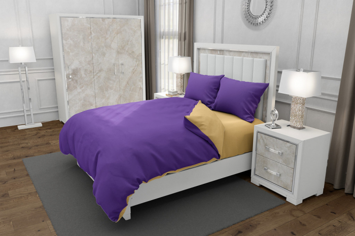 Lenjerie de pat matrimonial SUPER cu 4 huse de perna cu mix dimensiuni, Duo Purple, bumbac satinat, gramaj tesatura 120 g/mp, Mov/Crem, 6 piese [0]