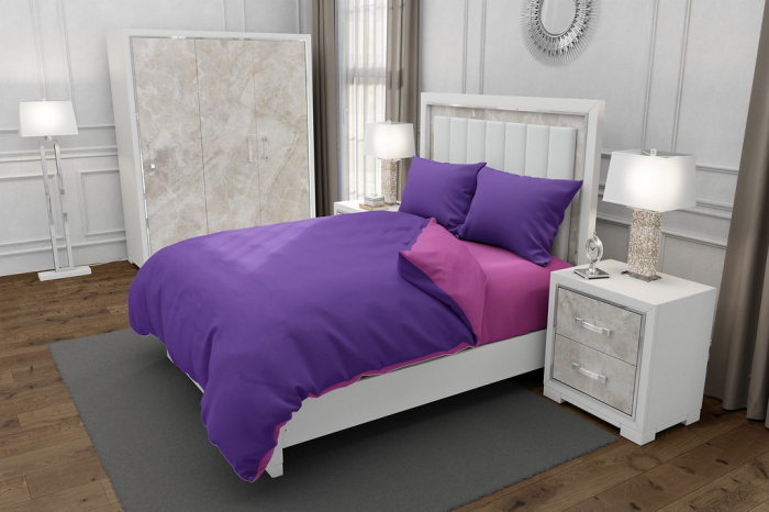 Lenjerie de pat pentru o persoana cu husa de perna dreptunghiulara, Duo Purple, bumbac satinat, gramaj tesatura 120 g/mp, Mov/Roz, 3 piese 0