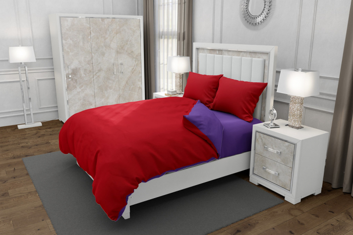 Lenjerie de pat matrimonial cu husa elastic pat si fata perna dreptunghiulara, Duo Red, bumbac satinat, gramaj tesatura 120 g/mp, Rosu/Mov, 4 piese 0