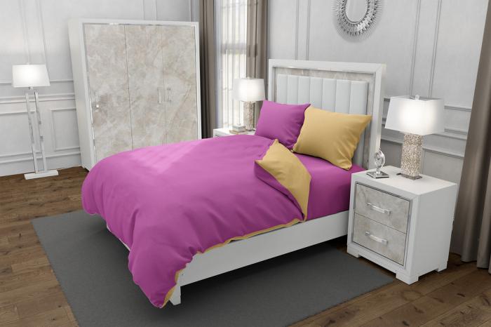 Lenjerie de pat matrimonial SUPER cu 4 huse de perna dreptunghiulara si mix culori, Duo Pink, bumbac satinat, gramaj tesatura 120 g/mp, Roz/Crem, 6 piese 0