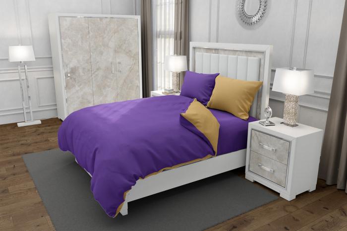 Lenjerie de pat matrimonial cu husa elastic pat si 4 huse perna dreptunghiulara si mix culori, Duo Purple, bumbac satinat, gramaj tesatura 120 g/mp, Mov/Bej, 6 piese 0