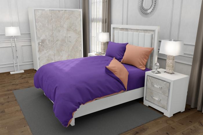 Lenjerie de pat pentru o persoana cu 2 huse de perna dreptunghiulara cu mix culoare, Duo Purple, bumbac satinat, gramaj tesatura 120 g/mp, Mov/Somon, 4 piese [0]