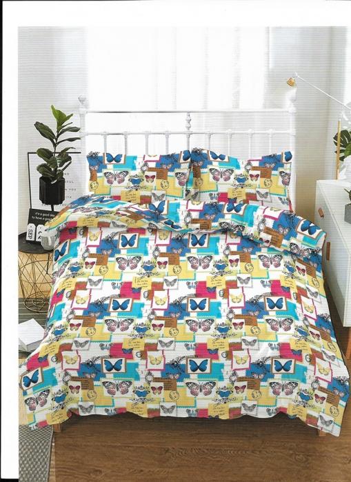 Lenjerie de pat matrimonial cu husa de perna dreptunghiulara, Alive, bumbac mercerizat, multicolor [0]