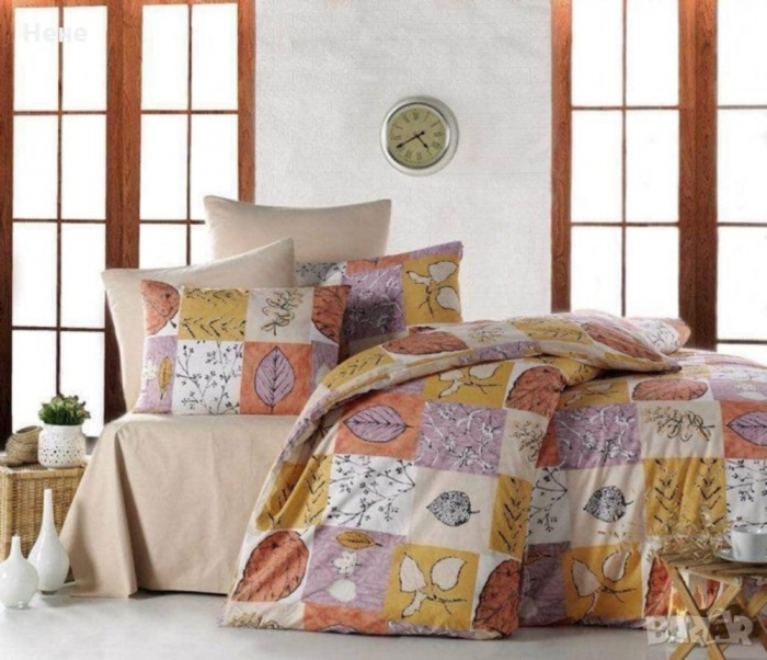 Lenjerie de pat matrimonial cu husa de perna dreptunghiulara, Autumn, bumbac satinat, gramaj tesatura 120 g/mp, multicolor 0