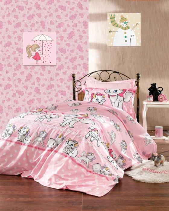 Lenjerie de pat matrimonial cu husa de perna dreptunghiulara, Barbie, bumbac satinat, gramaj tesatura 120 g/mp, multicolor [0]