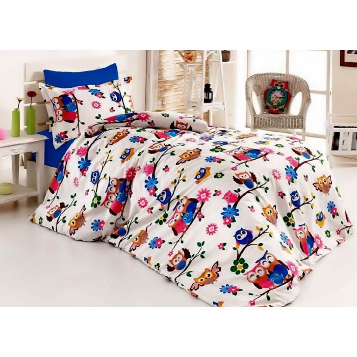 Lenjerie de pat matrimonial cu husa de perna dreptunghiulara, Bufnita vesela, bumbac satinat, gramaj tesatura 120 g/mp, multicolor 0