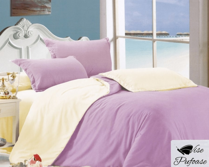Lenjerie de pat matrimonial cu husa de perna dreptunghiulara, California, bumbac satinat, gramaj tesatura 120 g/mp, Lila 0