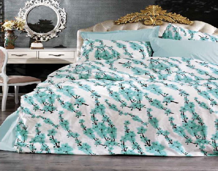 Lenjerie de pat pentru o persoana cu husa elastic pat si fata perna dreptunghiulara, Claire, bumbac satinat, gramaj tesatura 120 g/mp, multicolor [0]