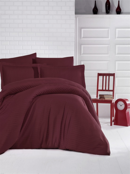 Lenjerie de pat matrimonial cu husa de perna dreptunghiulara, Elegance, damasc, dunga 1 cm 130 g/mp, Bordeaux, bumbac 100% 1