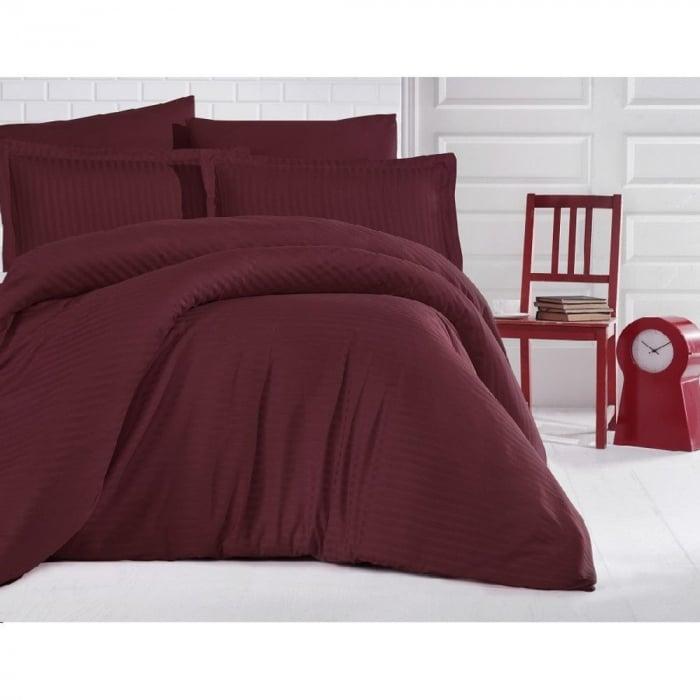 Lenjerie de pat matrimonial cu husa de perna dreptunghiulara, Elegance, damasc, dunga 1 cm 130 g/mp, Bordeaux, bumbac 100% 0