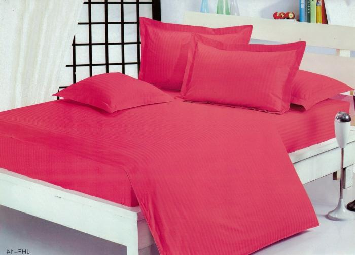 Lenjerie de pat matrimonial cu husa de perna dreptunghiulara, Elegance, damasc, dunga 1 cm 130 g/mp, Fuchsia, bumbac 100% 0