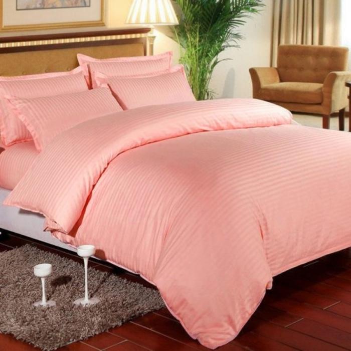 Lenjerie de pat matrimonial cu husa de perna dreptunghiulara, Elegance, damasc, dunga 1 cm 130 g/mp, Peach, bumbac 100% [0]