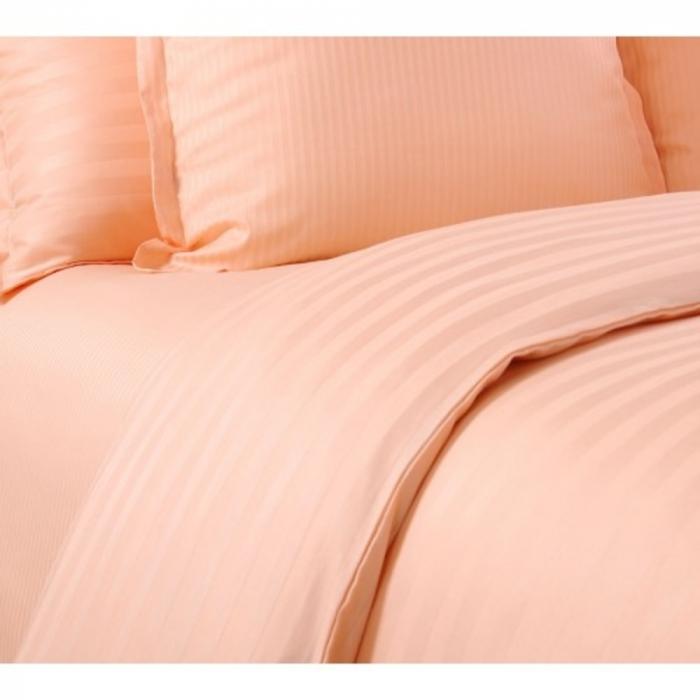 Lenjerie de pat matrimonial cu husa de perna dreptunghiulara, Elegance, damasc, dunga 1 cm 130 g/mp, Peach, bumbac 100% [1]