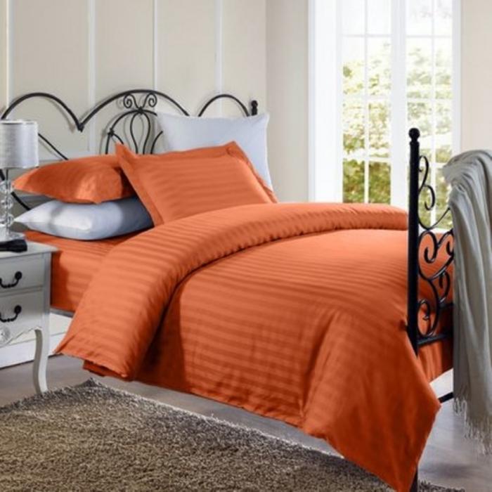 Lenjerie de pat matrimonial cu husa de perna dreptunghiulara, Elegance, damasc, dunga 1 cm 130 g/mp, Portocaliu, bumbac 100% [0]