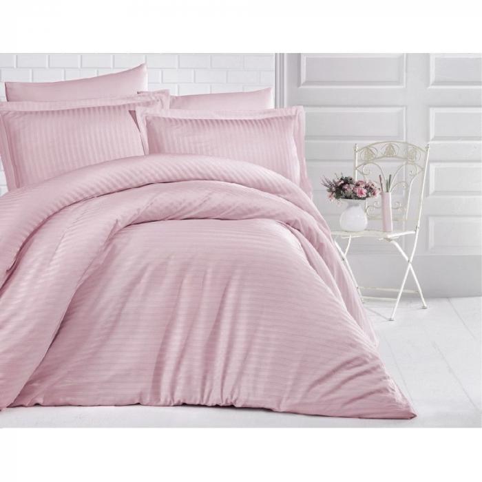 Lenjerie de pat matrimonial cu husa de perna dreptunghiulara, Elegance, damasc, dunga 1 cm 130 g/mp, Pudra, bumbac 100% [0]