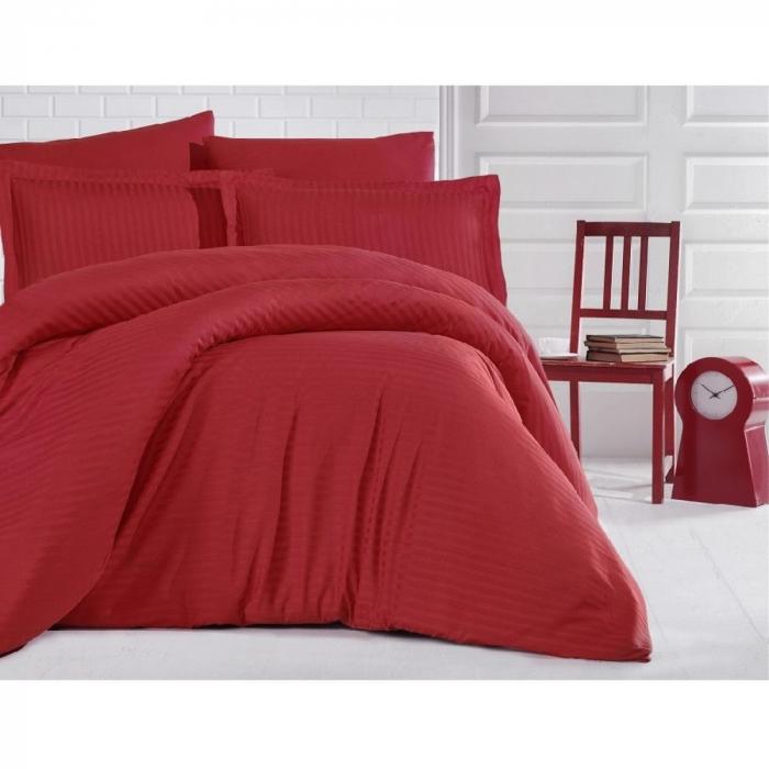 Lenjerie de pat pentru o persoana cu husa de perna dreptunghiulara, Elegance, damasc, dunga 1 cm 130 g/mp, Rosu, bumbac 100% [0]