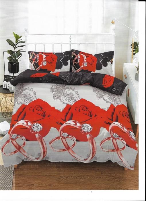 Lenjerie de pat matrimonial cu husa de perna dreptunghiulara, Fire, bumbac mercerizat, multicolor [0]