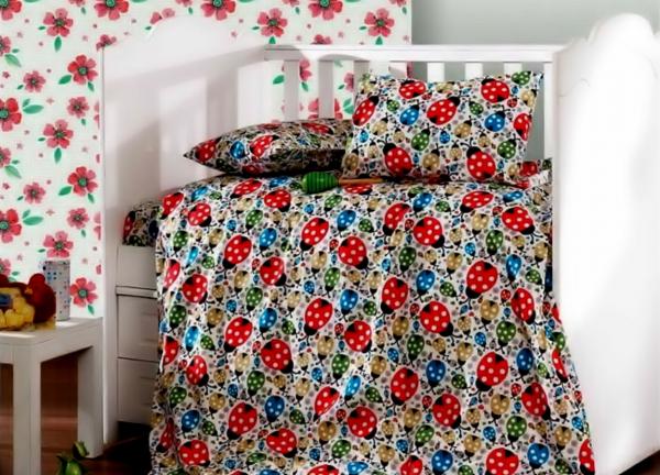 Lenjerie de pat matrimonial cu husa de perna dreptunghiulara, Gargarita, bumbac satinat, gramaj tesatura 120 g/mp, multicolor [0]