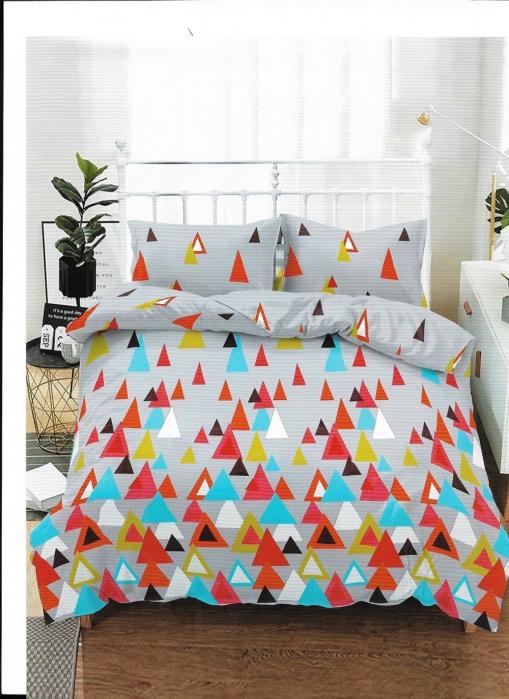 Lenjerie de pat matrimonial cu husa de perna dreptunghiulara, Gloria, bumbac mercerizat, multicolor 0
