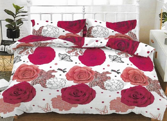 Lenjerie de pat matrimonial cu husa de perna dreptunghiulara, Hailey, bumbac mercerizat, multicolor 0
