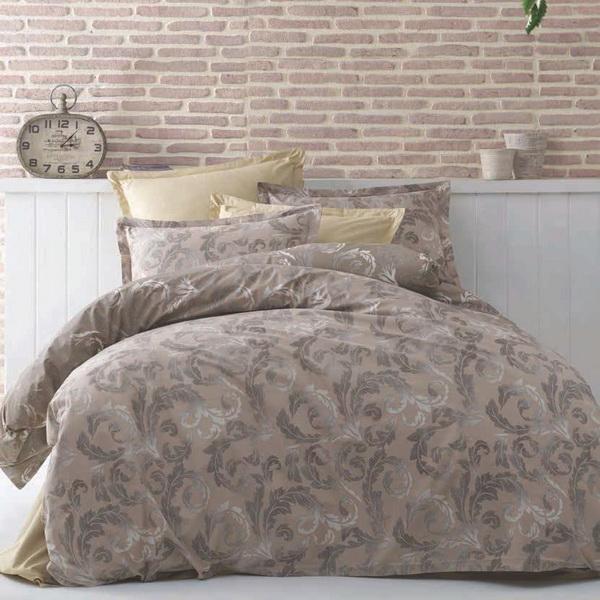 Lenjerie de pat matrimonial cu husa elastic pat si fata perna dreptunghiulara, Heaven, bumbac satinat, gramaj tesatura 120 g/mp, multicolor [0]